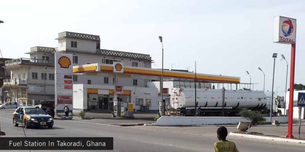 Fuel-Station-In-Takoradi,-Ghana