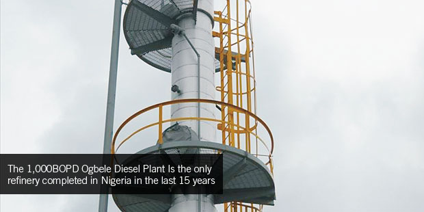 The 1,000BOPD Ogbele Diesel Plant Is the only refinery completed in Nigeria in the last 15 years