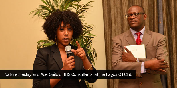 Natznet Tesfay and Ade Onitolo, IHS Consultants, at the Lagos Oil Club (1)
